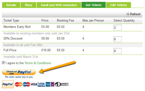 Sell tickets online with Eventility and PayPal